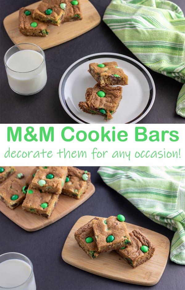 M&M Cookie Bars Pinterest image