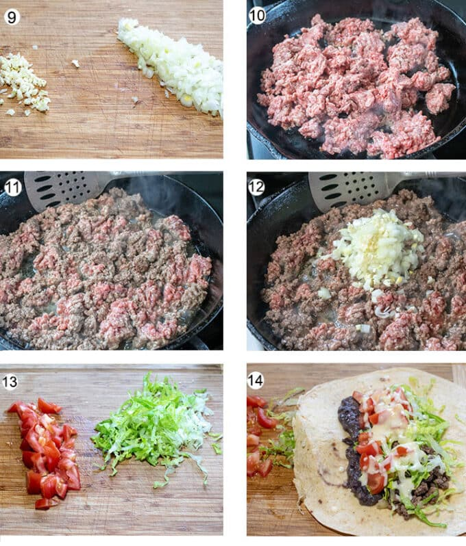 Step by step photos for how to build burrito. Details in recipe below.