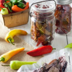 How to dry peppers Pinterest image with text overlay.