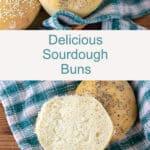 Sourdough hamburger buns Pinterest image