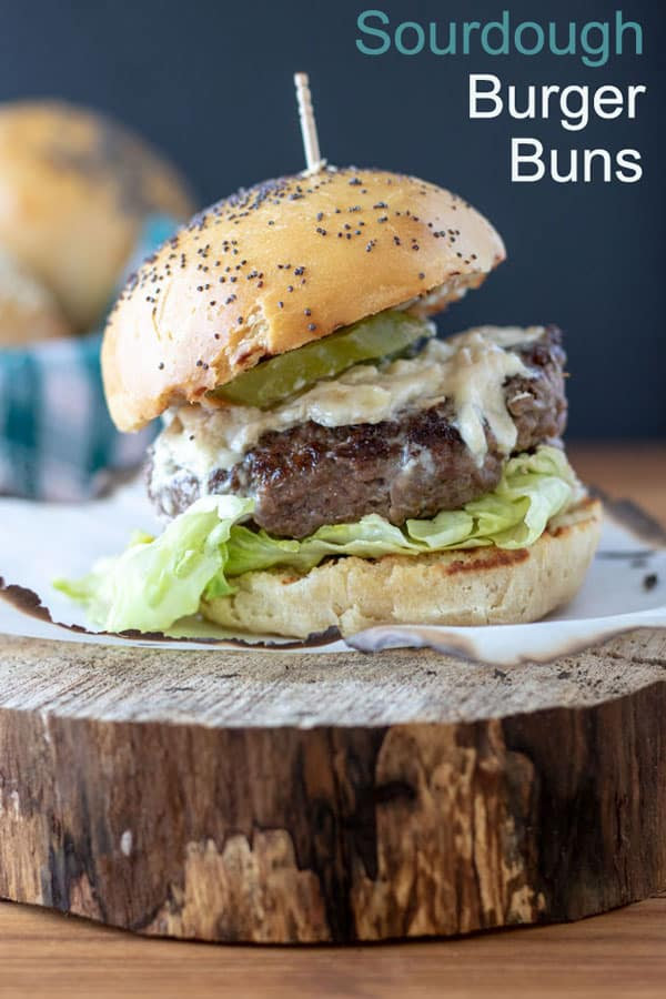 Sourdough hamburger buns Pinterest image