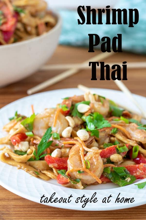 Shrimp pad thai Pinterest image with text overlay.