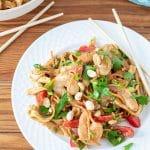 shrimp pad thai on white plate