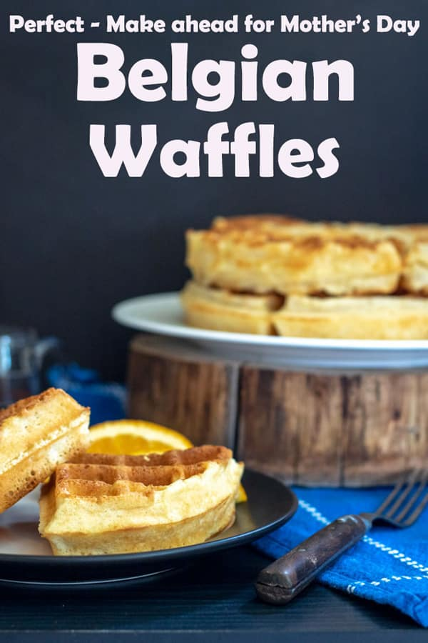 Belgian waffles Pinterest image with text overlay