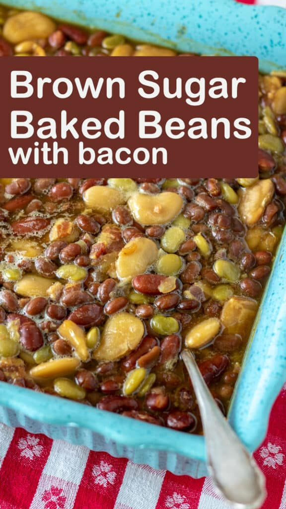 4- Bean Baked Beans Pinterest image with text overlay.