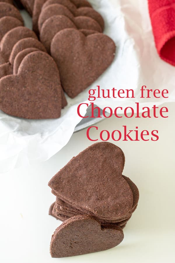 Gluten free chocolate cookies Pinterest image with text overlay.
