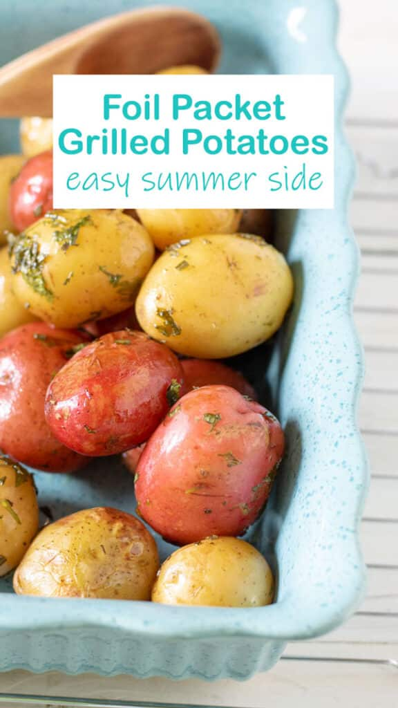 Grilled potatoes Pinterest image