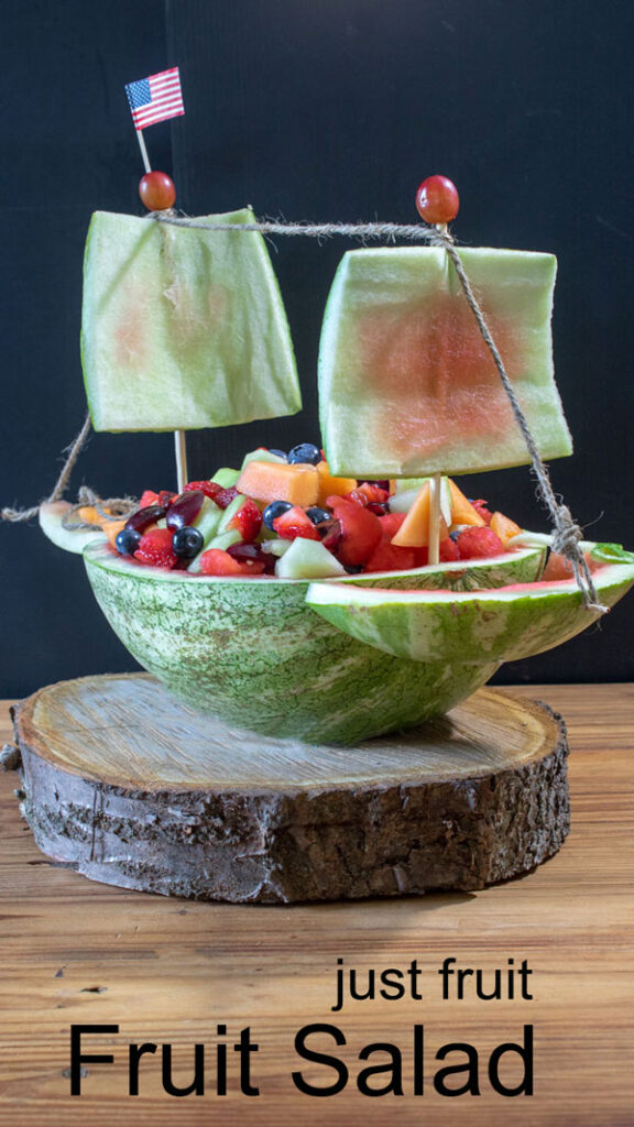 Fresh Fruit Salad Pinterest image with text overlay.