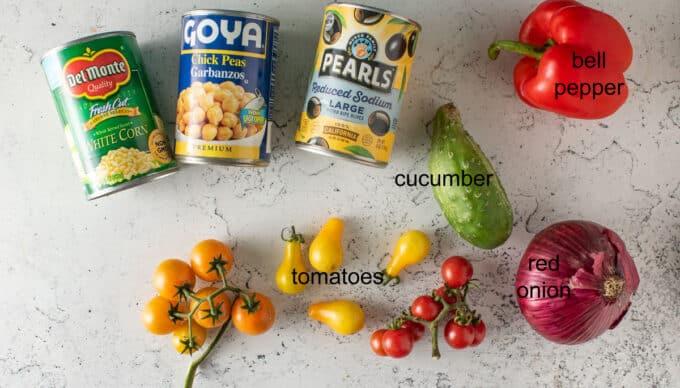 Ingredients for Southwestern salad. See details in recipe below.
