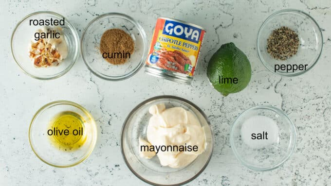 Ingredients for dressing for Southwestern salad. See details in recipe below.