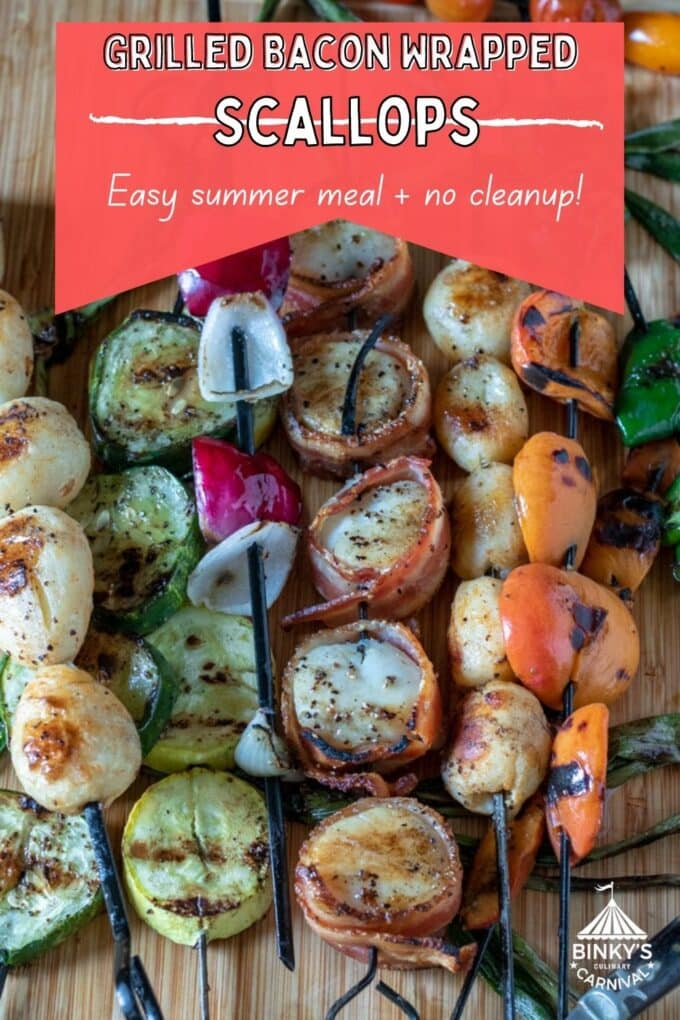 Grilled bacon wrapped scallops Pinterest Pin with text overlay