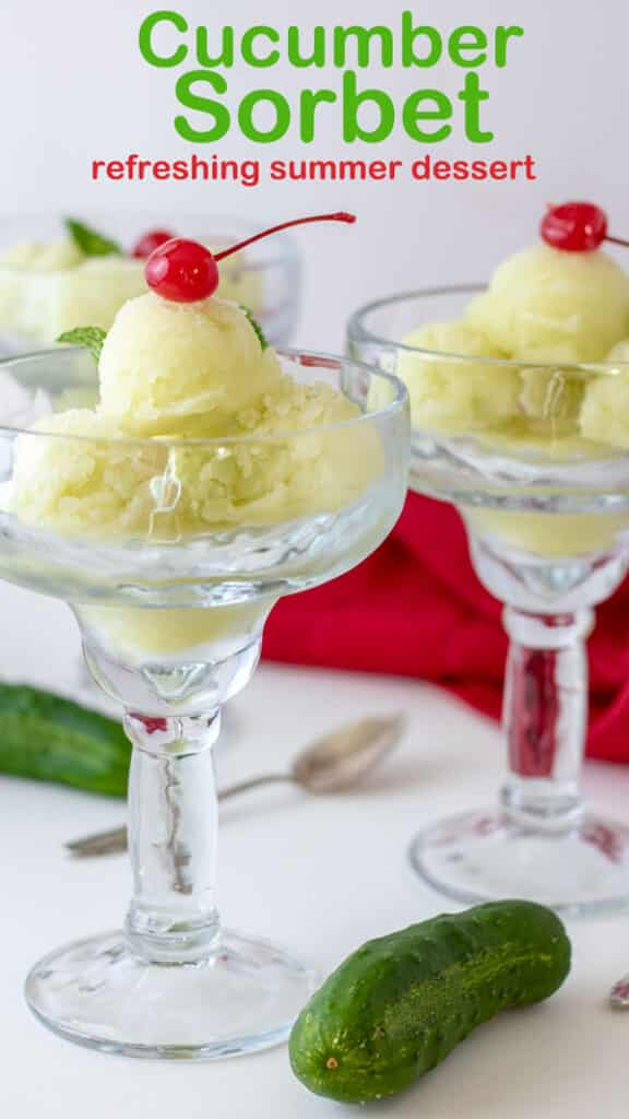 Cucumber sorbet Pinterest image with text overlay.