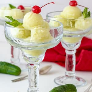 cucumber sorbet in glasses