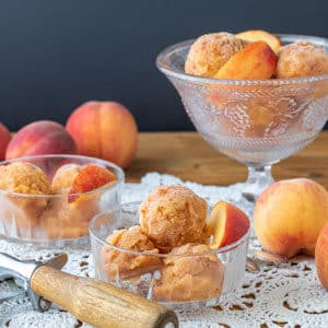 peach sorbet in glass bowls