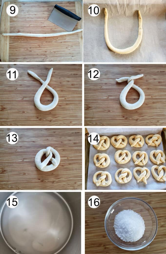 Step by step photographs of the process for making German pretzels. See details in recipe below.