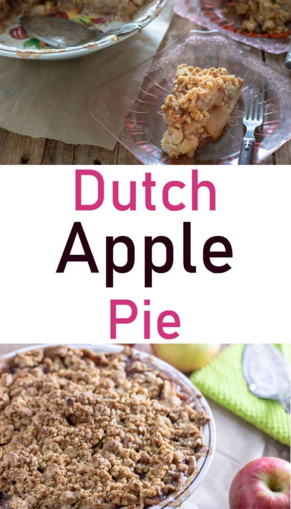 Apple crumb Pie Pinterest image with text overlay.