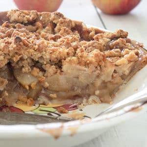 Close up of Dutch Apple pie in pie pan.