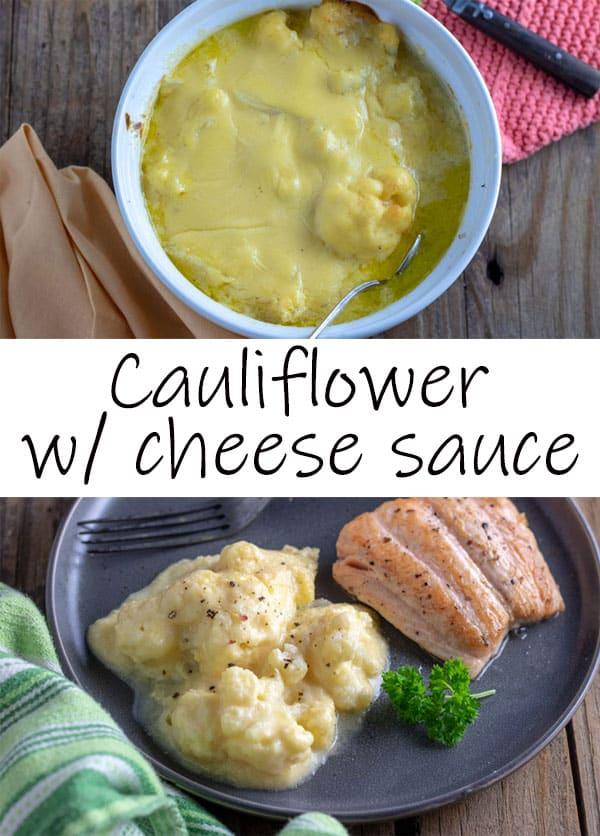 Cauliflower with cheese sauce Pinterest image