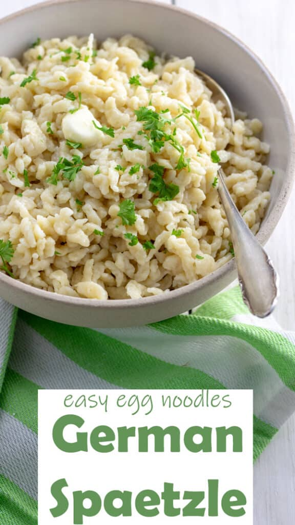 How to make German Spaetzle Pinterest image with text overlay.