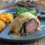 Venison Wellington Pinterest images with text overlay.