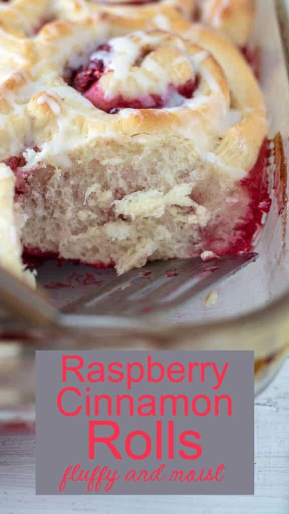 Raspberry cinnamon rolls Pinterest image