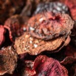 Air fryer beet chips Pinterest image with text overlay.