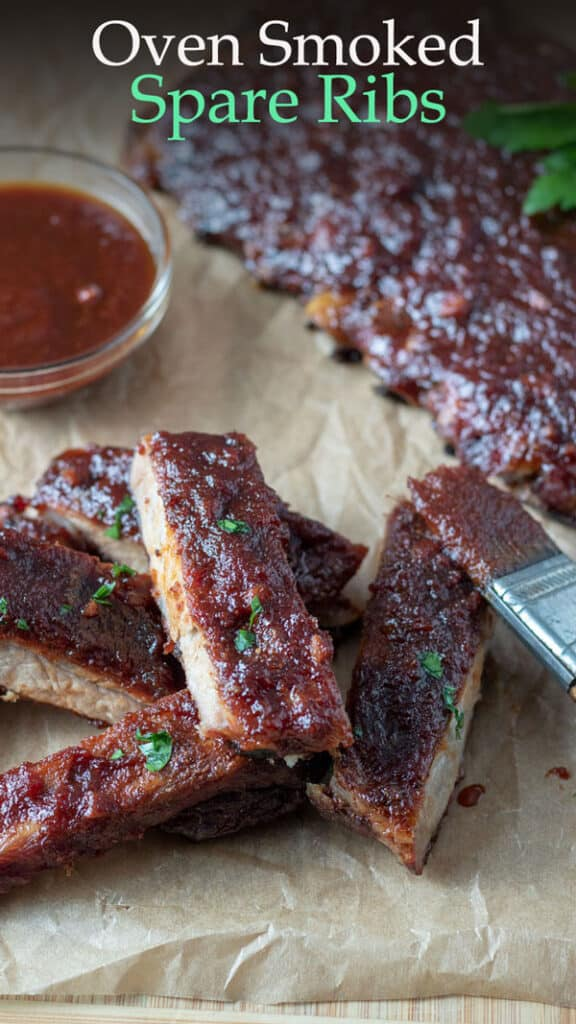 smoked ribs Pinterest image with text overlay.