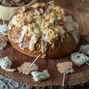 Reuben dip in rye bread bowl