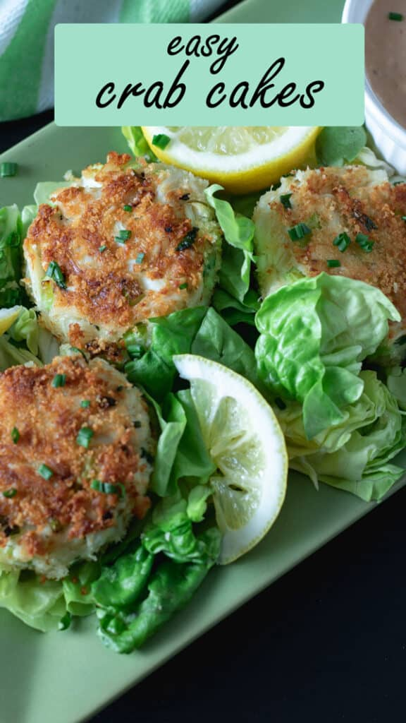 Pinterest pin with text overlay Super easy crab cakes