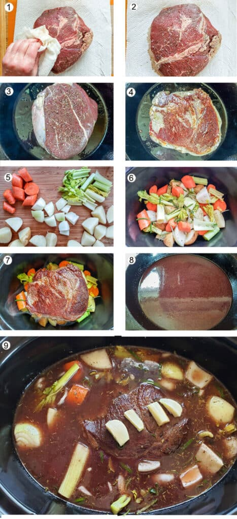 Drying off roast. Salt and pepper added. Browning roast in pan. Roast flipped over. Cut up vegetables. Veges added to crockpot. Beef added to crockpot. Red wine deglazing pan. Roast covered with beef stock.