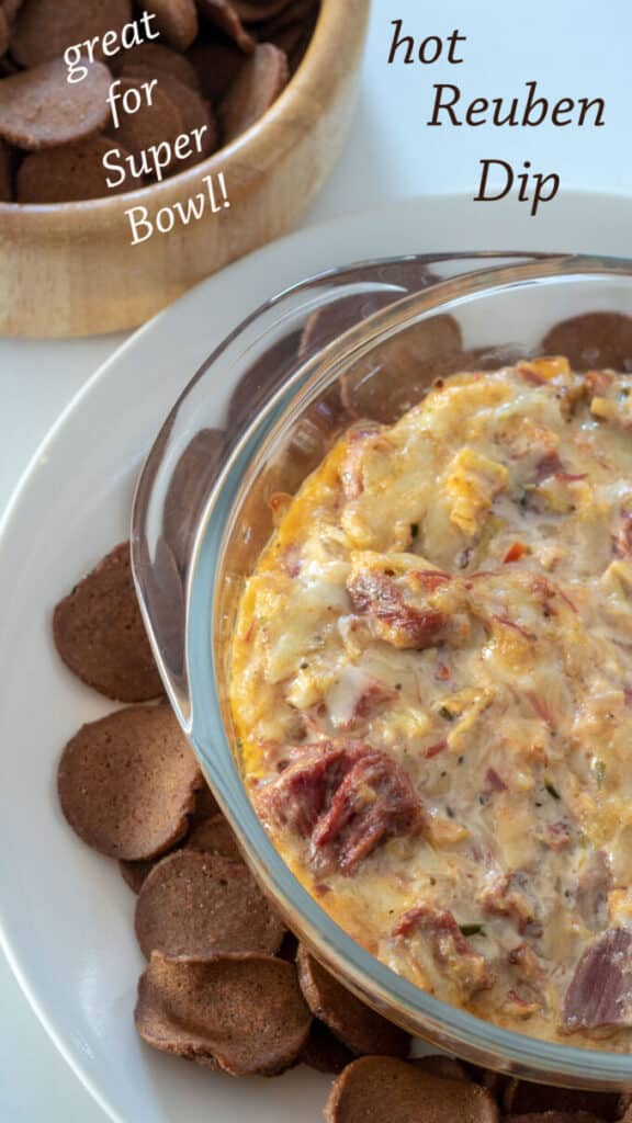 Hot Reuben Dip pinterest image with text overlay.
