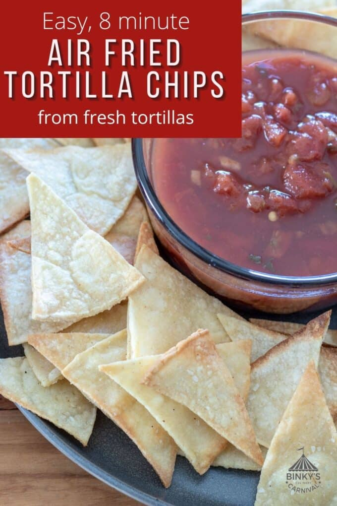 Homemade tortilla chips Pinterest Pin with text overlay