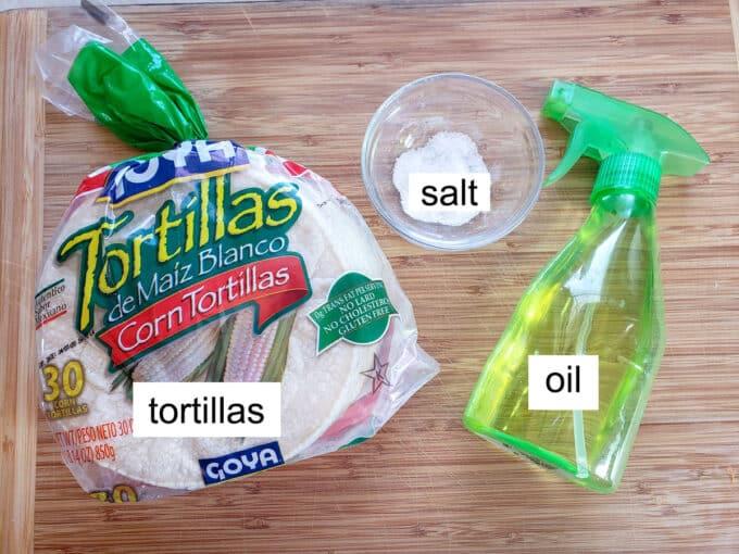 tortillas, oil spritzer and salt on board.