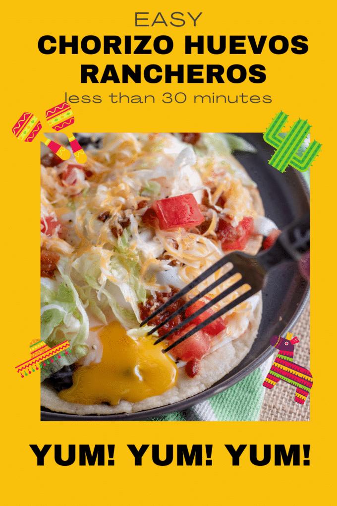 Chorizo huevos rancheros Pinterest image with text overlay.