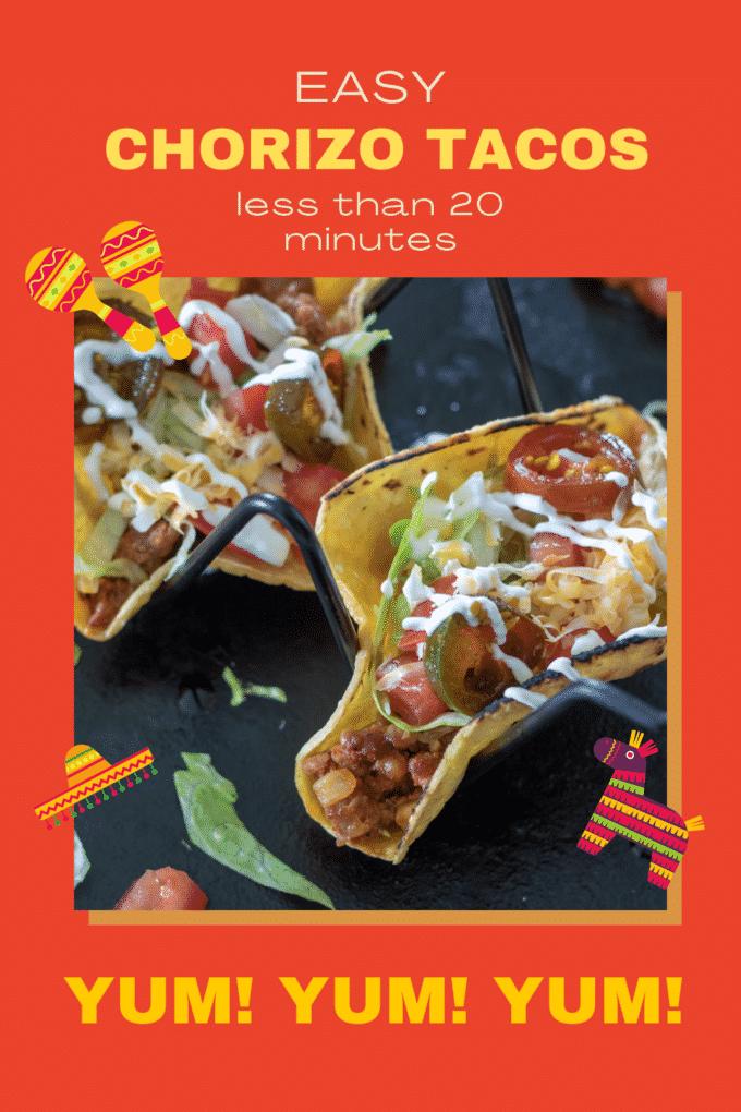 Chorizo tacos Pinterest image with text overlay.