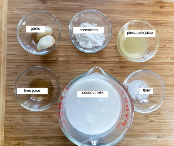 Ingredients for sauce - garlic, cornstarch, pineapple juice, lime juice, coconut milk, salt