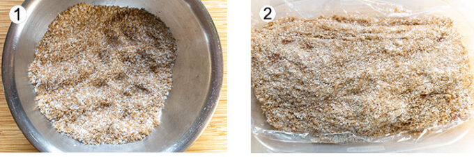 Salt & sugar mixed in bowl. Salmon placed in plastic wrap topped with salt & sugar mix.