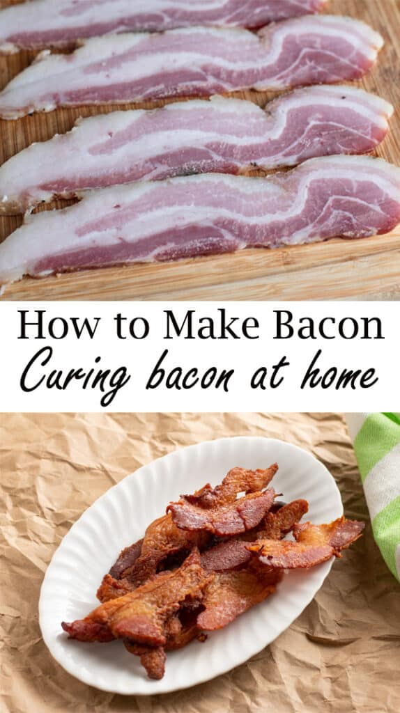 Uncooked and Cooked cured bacon Pinterest image with text overlay