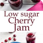 Cherry jam Pinterest image with text overlay.
