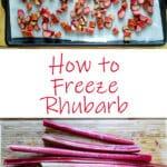 Rhubarb crisp Pinterest image with text overlay.