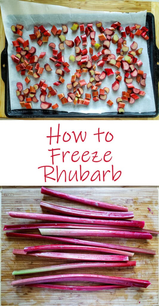 Rhubarb crisp Pinterest image with text overlay.