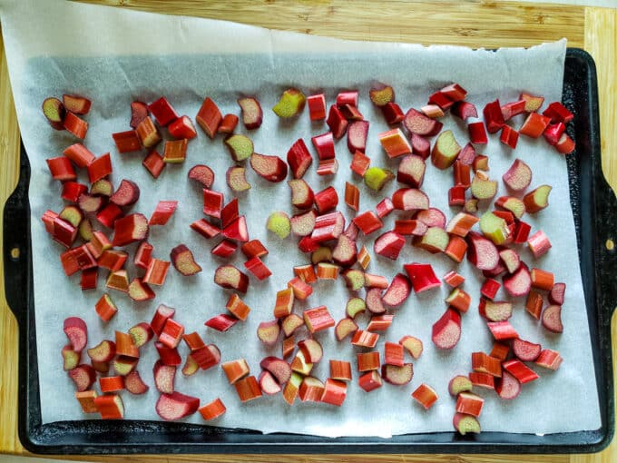 Rhubarb in single layer on parchment.