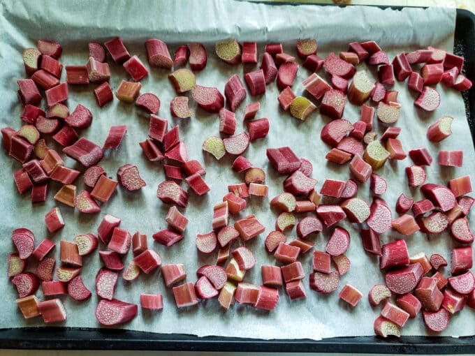 Frozen rhubarb on parchment.