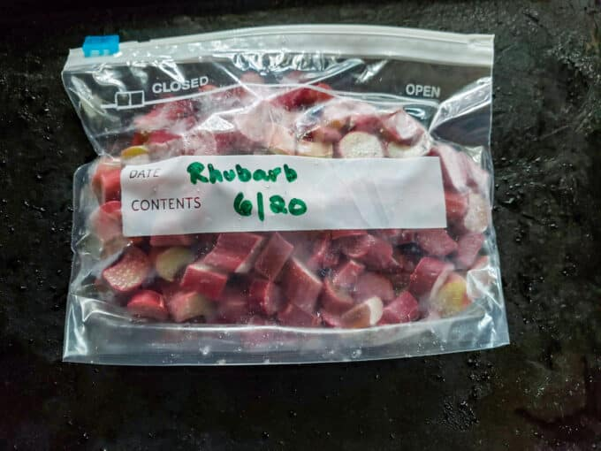 Labelled bag of frozen rhubarb.