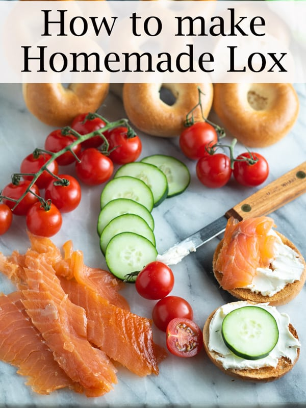 how to make homemade lox Pinterest image with text overlay.