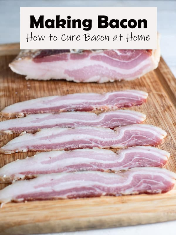 Uncooked cured bacon pinterest image with text overlay