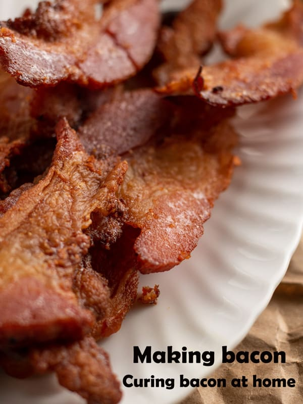 Cooked cured bacon Pinterest image with text overlay