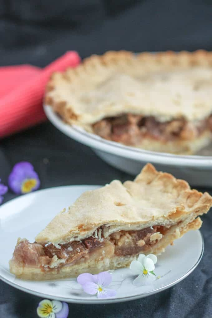 Slice of rhubarb pie on white plate