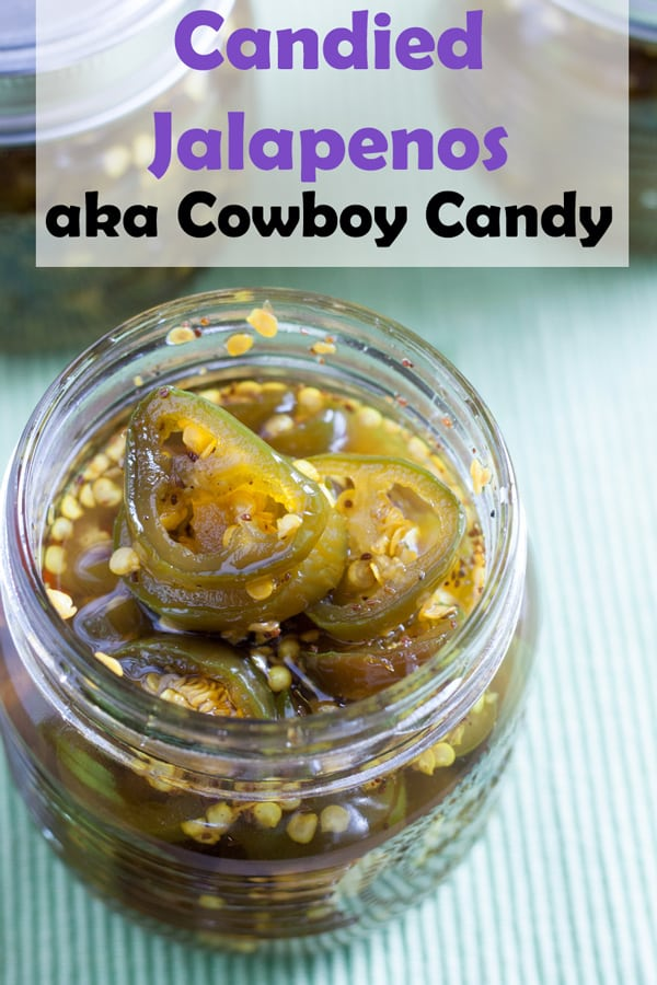 Candied jalapenos Pinterest image with text overlay.