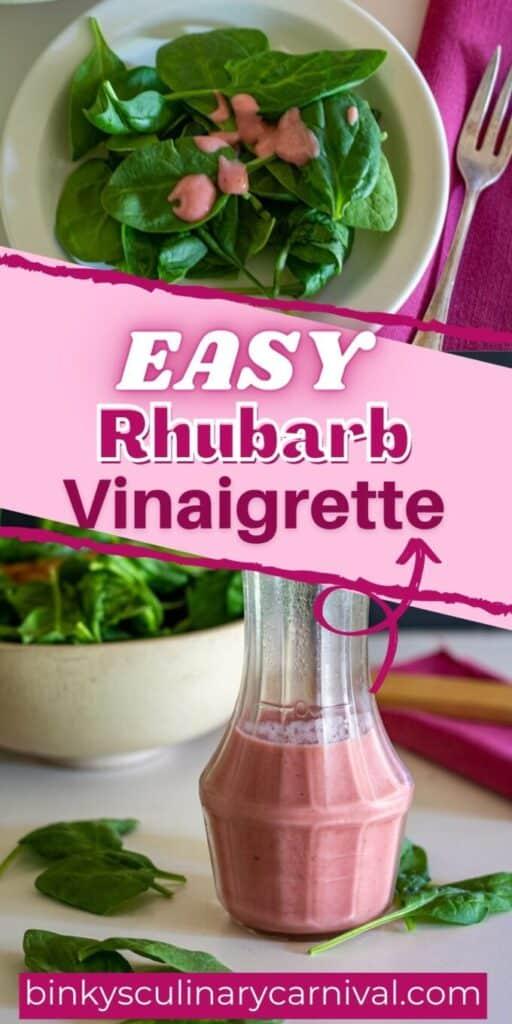 Rhubarb vinaigrette Pinterest image with text overlay.